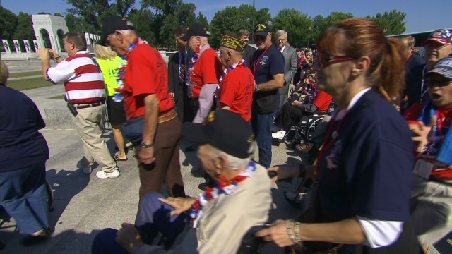WWII memorial barricades moved for vets