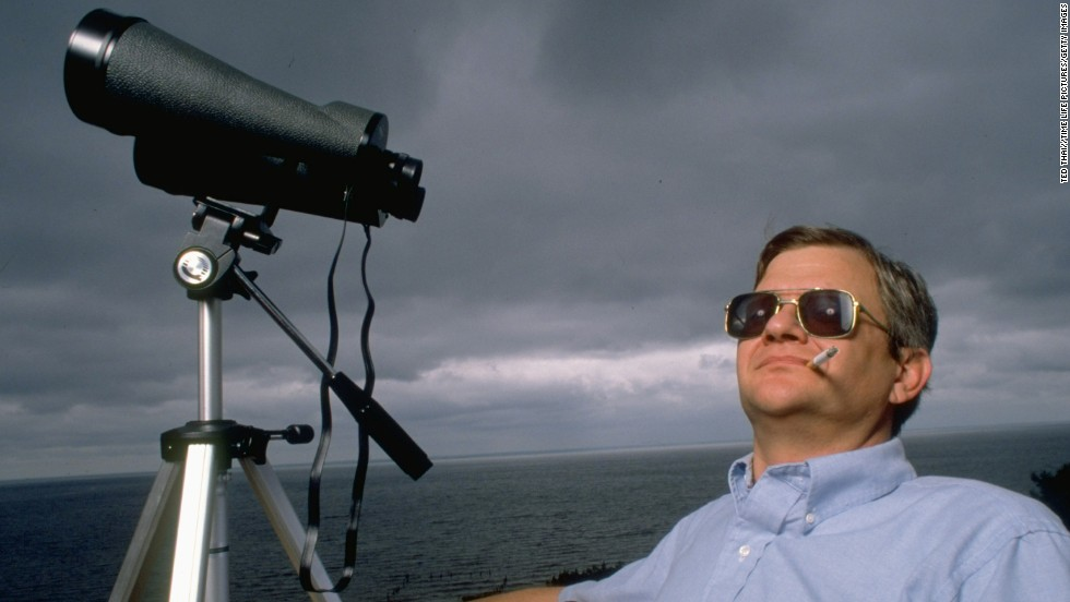 Clancy takes in the Chesapeake Bay in Huntington, Maryland, in 1989.