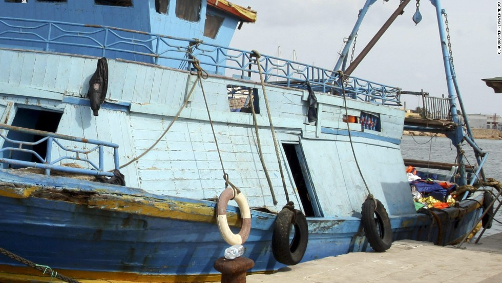 A boat used to transport migrants is docked at Lampedusa Island on October 3. The island is a major destination for refugees seeking to enter European Union countries.
