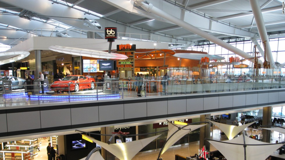 Heathrow Airport's Terminal 5 houses an 11,000-square-foot Harrods and, for the culture-minded, a gallery showcasing sculptures by emerging British artists.