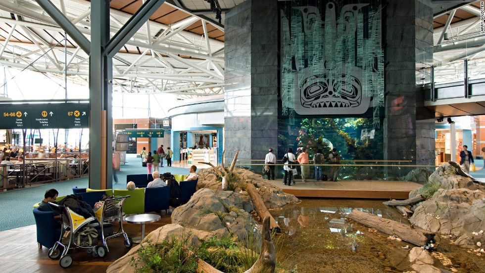 Known for its lovely use of light, the Vancouver airport also features works by native artists and major exhibits by the Vancouver Aquarium.