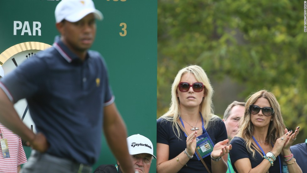 Woods' girlfriend, Lindsey Vonn, was by his side. The four-time World Cup overall skiing champion is recovering from a serious knee injury.