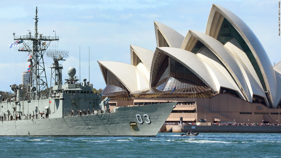 The HMAS Sydney passes the opera house on October 4 as part of celebrations.