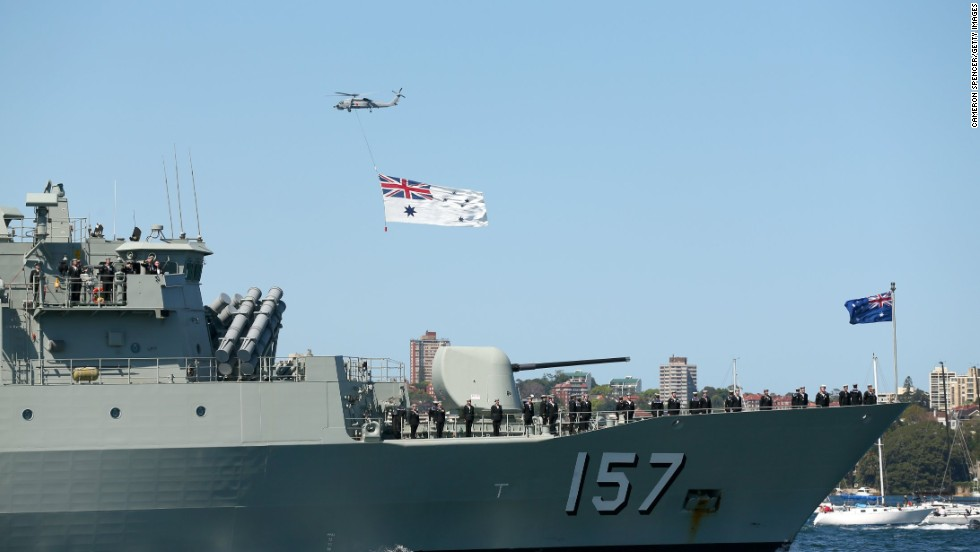 The frigate HMAS Perth arrives in the harbor on October 4.
