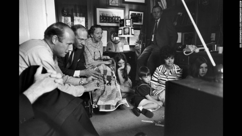 From left: Astronauts Pete Conrad and Buzz Aldrin; James Lovell's mother, Blanch; Barbara Lovell (chin in hand); Neil Armstrong (standing); Jeffrey, Marilyn and Susan Lovell, all watching TV at the Lovell home during the Apollo 13 crisis, April 1970.