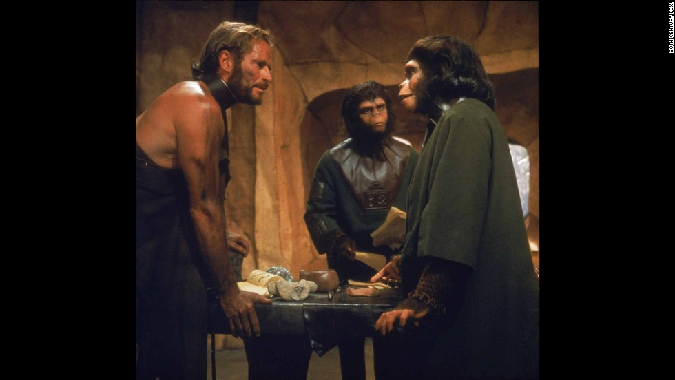 "Five years earlier, Heston revealed another of the movies' great twists at the end of ""Planet of the Apes"" (1968). Believing he's traveled to an alien world populated by talking apes, it's only as the movie concludes -- with the Statue of Liberty emerging from a beach -- that he realizes he's on a future Earth. ""You maniacs!"" he screams. ""You blew it up!"" Rod Serling, of ""Twilight Zone"" fame, wrote the screenplay."