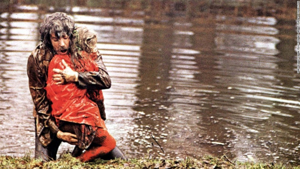 "In 1973's<strong> </strong>""Don't Look Now,"" a troubled couple (Donald Sutherland and Julie Christie) travel to Venice to escape the grief caused by the death of their daughter. Sutherland's character has visions of seeing his child in a red coat, but it's actually a serial killer -- and Sutherland's visions are actually about himself. The haunting film was directed by Nicolas Roeg."