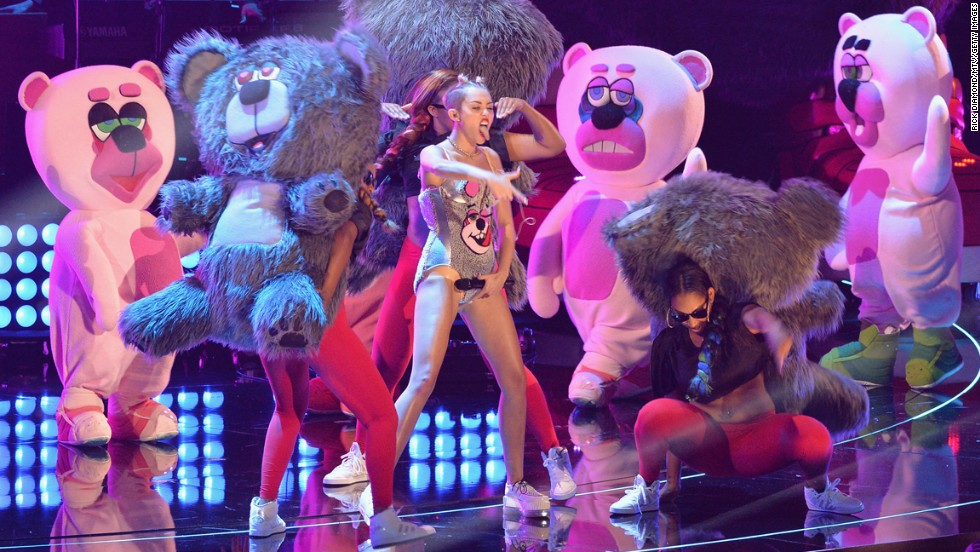 Dancers wear teddy bear costumes as Cyrus performs at the 2013 MTV Video Music Awards at the Barclays Center in Brooklyn, New York, on August 25.