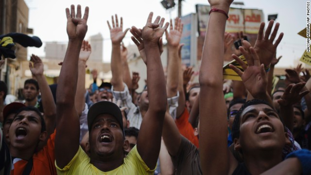 Supporters of Egypt's ousted President Mohammed Morsy take part in a protest in Cairo on Friday.