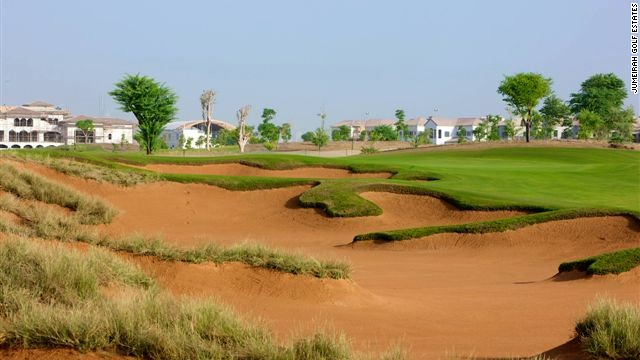 Bunkers: A useful reminder of the desert on a Dubai golf course that otherwise looks like the USA.