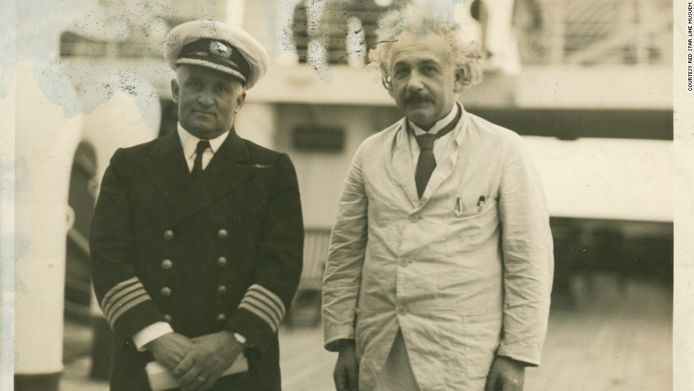 Albert Einstein poses on the deck of the SS Belgenland, 1930. He was one of 2.5 million passengers who sailed between Europe and North America with the Red Star Line shipping company from 1873 to 1934. He resigned from the Prussian Academy of Sciences on the ship's stationary -- the letter now appears in the new $25 million Red Star Line Museum in Belgium.
