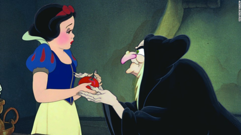 "<a href=""http://www.youtube.com/watch?v=ATFx3aismgU"" target=""_blank"">The Evil Queen in ""Snow White</a>"" is the original animated Disney villain, appearing in Walt Disney's first animated film, 1937's ""Snow White and the Seven Dwarfs."" Trying to claim the title of ""fairest of them all,"" the queen had to use dark magic to turn herself into a witch so she could trick the (let's face it, pretty gullible) princess."