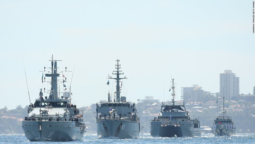 The HMAS Broome leads the HMAS Gascoyne, HMAS Benalla and other Australian navy ships through the harbor on October 5.