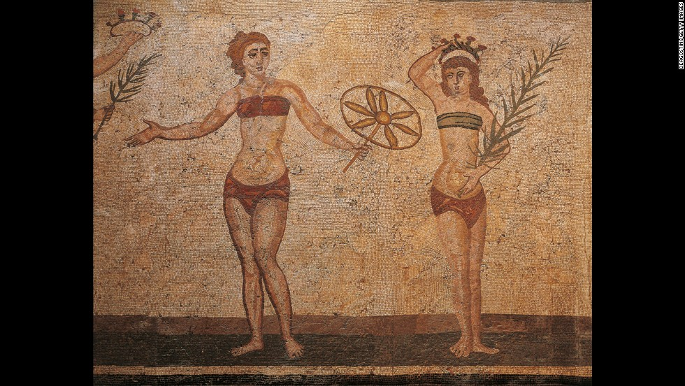 A Sicilian mosaic shows ancient Roman athletes exercising in an early version of the bikini.
