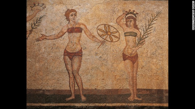A detail from the mosaic of the Ten Maidens at UNESCO World Heritage site Villa Romana del Casale in Piazza Armerina, Sicily, is seen in this 2004 photo.