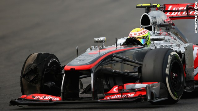 """The right-front tire of Sergio Perez's McLaren """"exploded"""" during Sunday's Korean Grand Prix, sparking safety fears."""