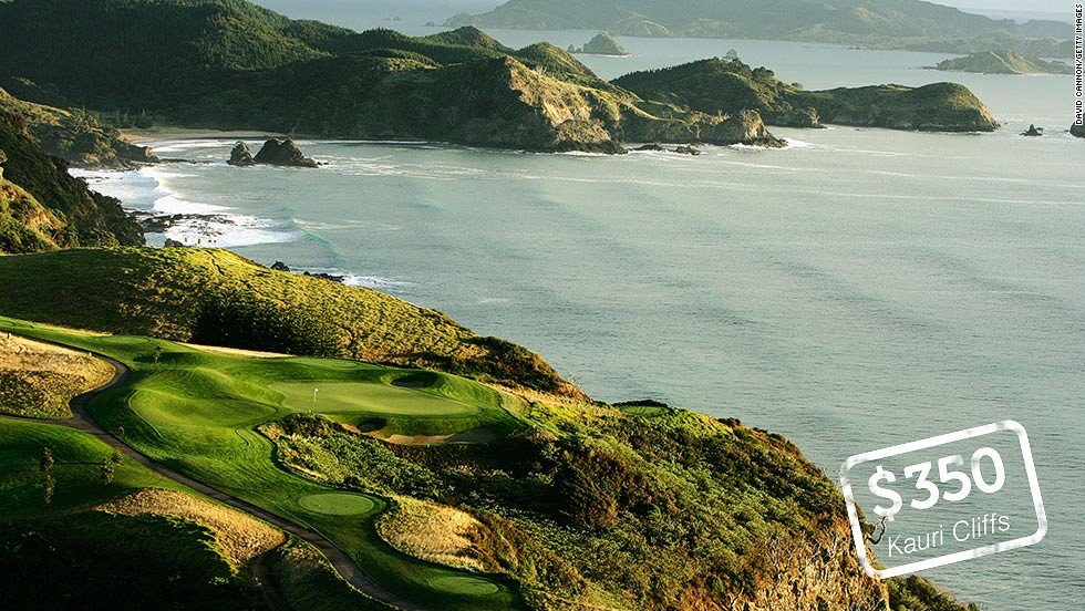 "<strong>Kauri Cliffs, Matauri Bay, New Zealand</strong>: Perched on the cliffs above the crystal clear waters of Matauri Bay, Kauri Cliffs is one of the most picturesque golf courses in the world. Six of the holes on the 7,119-yard, par 72 championship course run directly along the Pacific Ocean coast. The David Harman-designed links was <a href=""http://www.golfdigest.com/golf-courses/2012-05/100-best-golf-courses-outside-us"" target=""_blank"">ranked 19th </a>in Golf Digest's ""100 best courses outside the U.S."" in 2012. Green fees for<a href=""http://www.kauricliffs.com/kauri-cliffs-luxury-lodges-new-zealand-five-star-luxury-lodge-and-golf-club/green-fees_idl=2_idt=3231_id=19302_.html"" target=""_blank""> international visitors</a> peak at $NZD 425 ($350)."