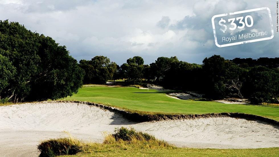 "<strong>The Royal Melbourne Golf Club, Melbourne, Australia</strong>: The West course at the Royal Melbourne is widely rated as <a href=""http://www.top100golfcourses.co.uk/htmlsite/productdetails.asp?id=413"" target=""_blank"">Australia's best</a>. Designed by Augusta National co-architect Dr Alister Mackenzie in 1926, the club has hosted the Australian Open and more recently the Presidents Cup. Overseas visitors<a href=""http://royalmelbourne.com.au/guests/golf/reservations.mhtml"" target=""_blank""> pay AUS$350</a> ($330)."