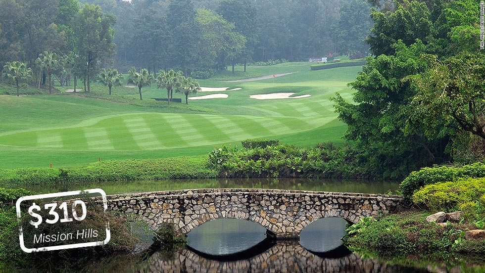 "<strong>Mission Hills Golf Club, Shenzhen, China</strong>: Mission Hills' massive golf complex boasts 12 courses with more planned.  $HKD 10 billion ($1.3 billion) has been ploughed into the 20-square kilometer plot since it opened in 1994. A round at the Jack Nicklaus-designed<a href=""http://www.missionhillschina.com/en-US/shenzhen/golf/golf_courses/world_cup_course"" target=""_blank""> World Cup Course </a>will cost a cool 1920 Chinese Yuan ($310). <br />"