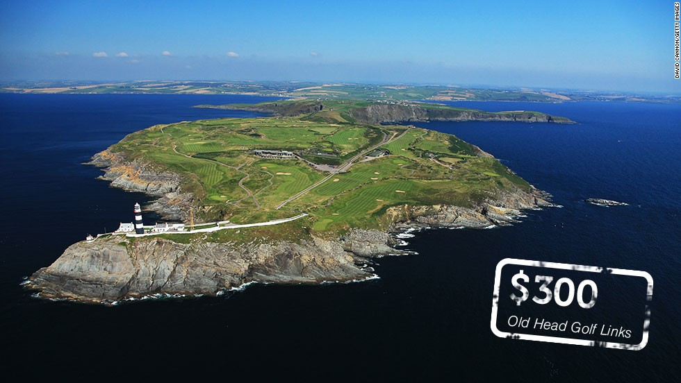 "Pitch up with your credit card and your clubs if you want to walk the fairways at these golf courses. Places like <a href=""http://oldhead.com/rates-reservations/rates-reservations/"" target=""_blank""><strong>Old Head Golf Links</a></strong> in County Cork, Ireland have some of the most expensive green fees on the planet. But given its <a href=""http://here.com/51.6090794,-8.5295001,15,0,0,hybrid.day"" target=""_blank"">glorious setting</a>, it's no wonder some golfers will happily stump up the €220 ($300) required to play the course next summer."