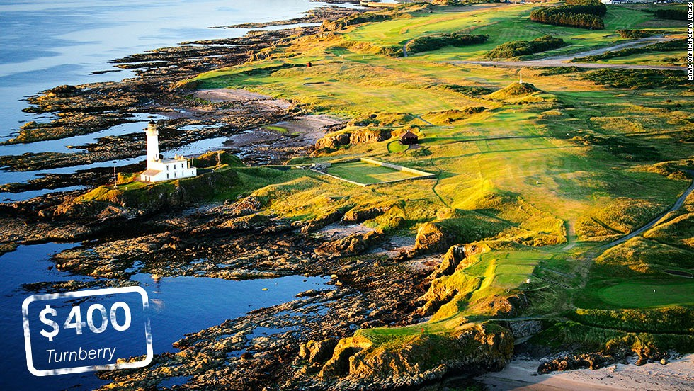 "<strong>Turnberry, Ayrshire, Scotland</strong>: A jewel in the crown of the home of golf. Turnberry's<a href=""http://www.turnberryresort.co.uk/ailsa"" target=""_blank""> Ailsa course</a> is one of the <a href=""http://here.com/55.3218365,-4.8297926,15,0,0,hybrid.day"" target=""_blank"">world's great courses </a>and famously played host to the ""Duel in the Sun"" between Tom Watson and Jack Nicklaus at the 1977 British Open. Visitors wanting to play golf in the summer of 2014 will have to pay <a href=""http://www.turnberryresort.co.uk/golf-green-fees"" target=""_blank"">£250</a> ($400)     <br />"