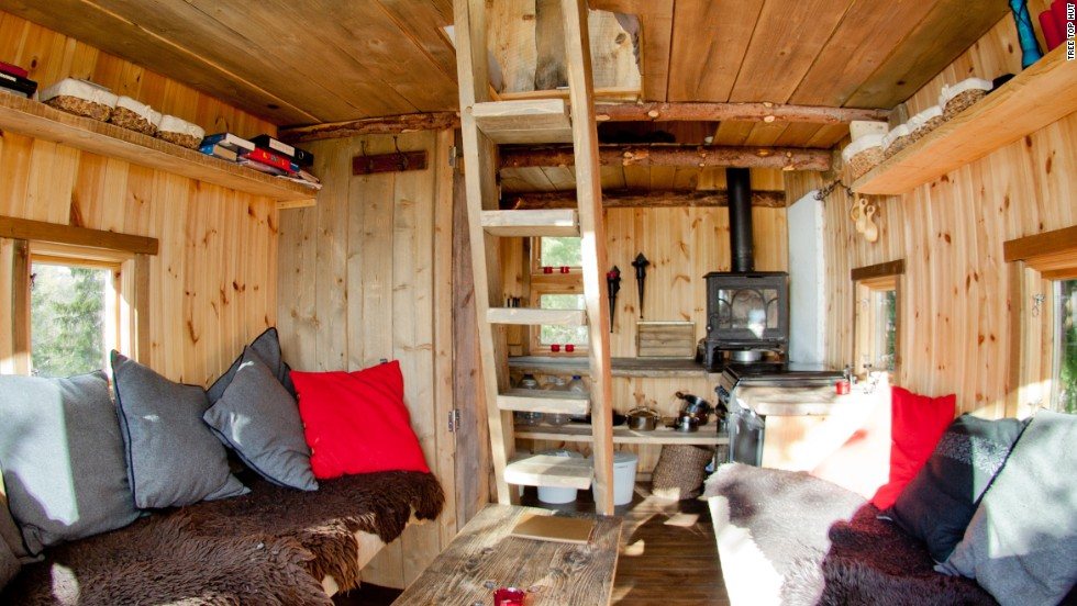 The Tree Top Hut, an hour and a half north of Oslo, Norway, sleeps up to eight people and comes with binoculars to watch the wild moose and reindeer nearby.