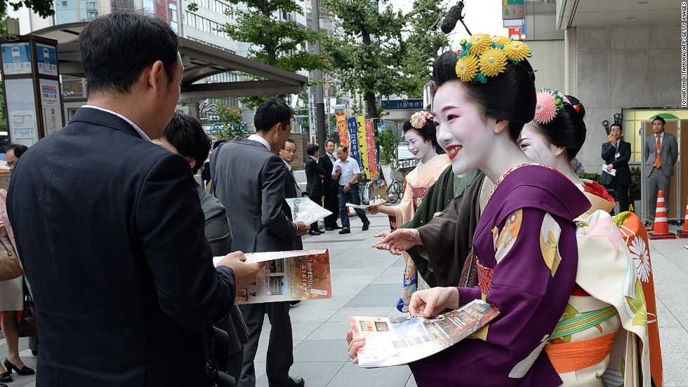 Apprentice geisha, called maiko (dance child) in Kyoto and hangyoku (half jewel) in Tokyo, receive years of training in the arts -- including dance, singing and shamisen -- before they become full-fledged geisha. According to the Japan National Tourism Organization, there are less than 10,000 geisha left in Japan today.