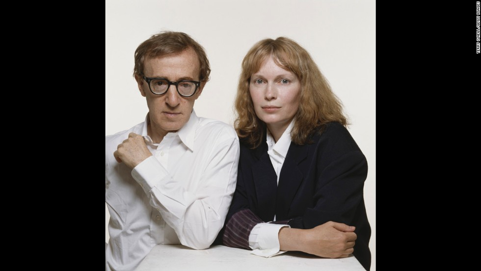 Woody Allen and Farrow pose for a photo in July 1987. The two were romantically linked for 12 years until it came to light that Allen was having an affair with Farrow's adopted daughter, Soon-Yi Previn.
