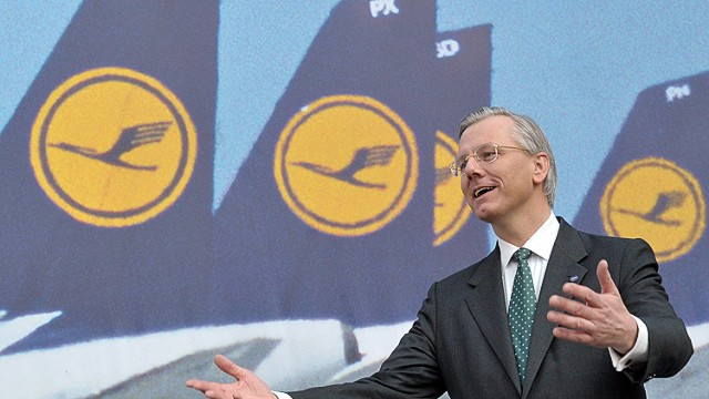 (FILES) Picture taken on March 15, 2012 shows the chairman of the German flag carrier Lufthansa, Christoph Franz, gesture as he attends the airline's annual press conference in Frankfurt am Main, western Germany. Lufthansa and Swiss pharmaceutical group Roche announced on September 16, 2013 that Franz would step down in May 2014, at the end of his current contract to head the board of directors at Roche. The Swiss firm said in a statement that Franz has been nominated to succeed its chief Franz B. Humer, who plans to retire early next year. AFP PHOTO / BORIS ROESSLER GERMANY OUTBORIS ROESSLER/AFP/Getty Images