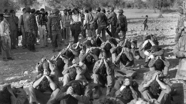 Israelis captured by Syrian troops during the Yom Kippur War are presented to the press on October 16, 1973.