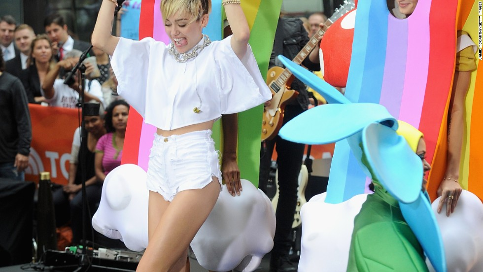 "Miley Cyrus gives a colorful performance at the ""Today"" show on October 7."