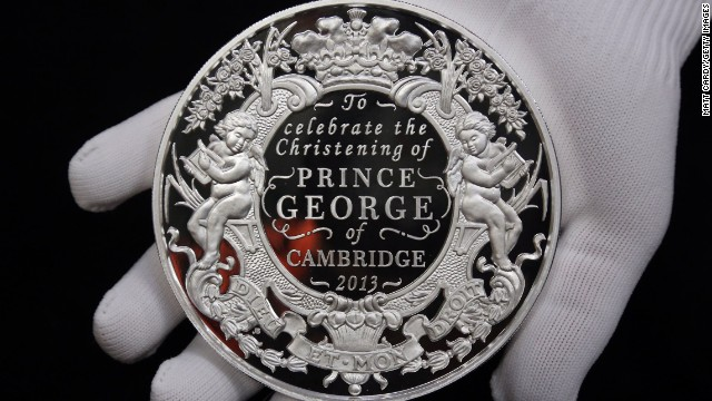 A cast for the new coin to commemorate the christening of HRH Prince George of Cambridge is shown n October 7 in Wales.