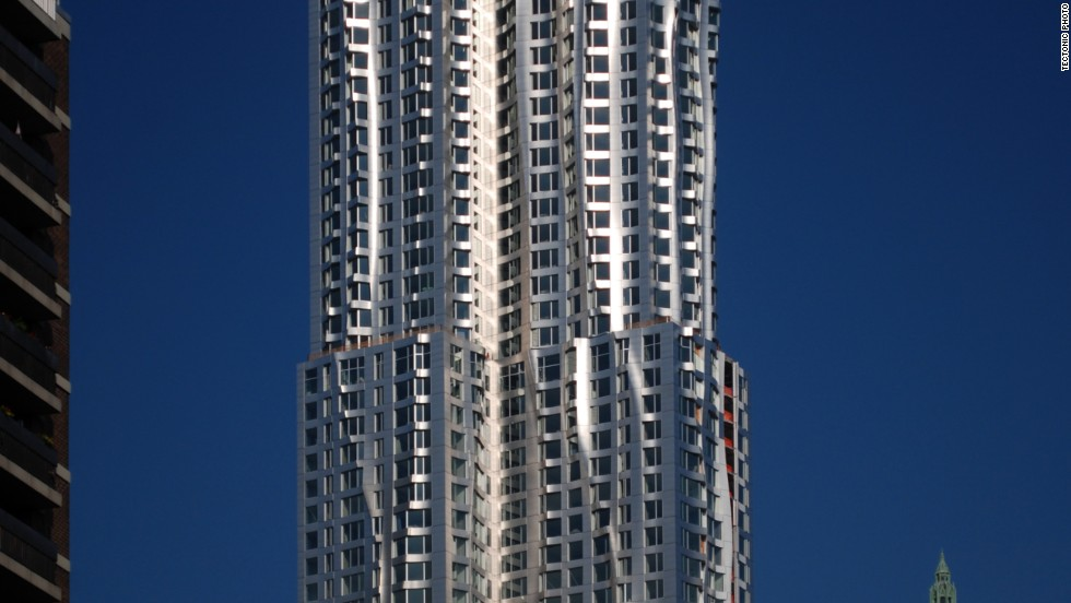 The facade of the skyscraper is composed of 10,500 stainless steel panels, some flat, some undulating.In order to better integrate the eye-catching building into its urban context, the bottom five stories of the tower are clad in brick.<strong>Architect</strong>: Frank O. Gehry