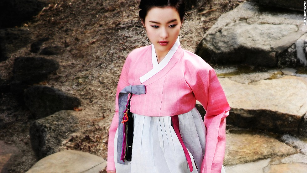 Hanbok for women is generally divided into two pieces, the long-sleeved top (jeogori), and voluminous floor-length skirt (chima). The color pink is usually reserved for young girls or engagement ceremonies.