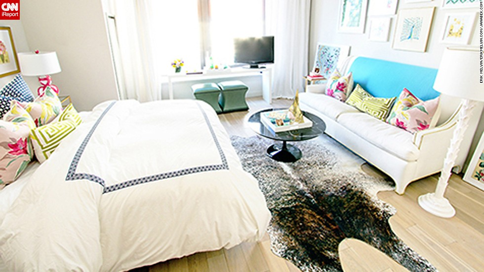 "<a href=""http://ireport.cnn.com/docs/DOC-1040778"">Jana Bek's</a> petite New York apartment is centered around a <a href=""http://janabek.com/"" target=""_blank"">brown spotted-hide rug</a>."