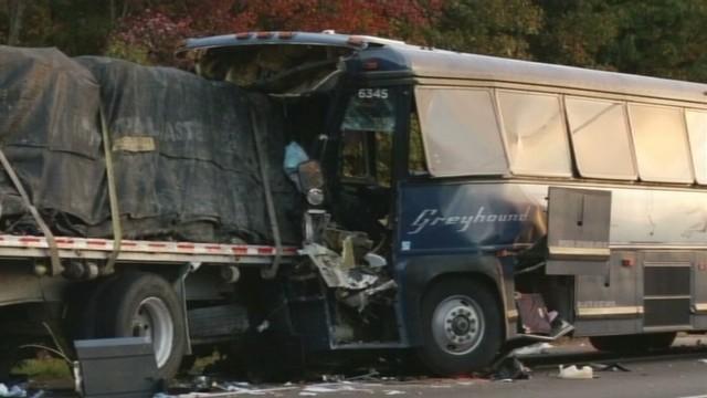 Greyhound bus crash leaves one dead