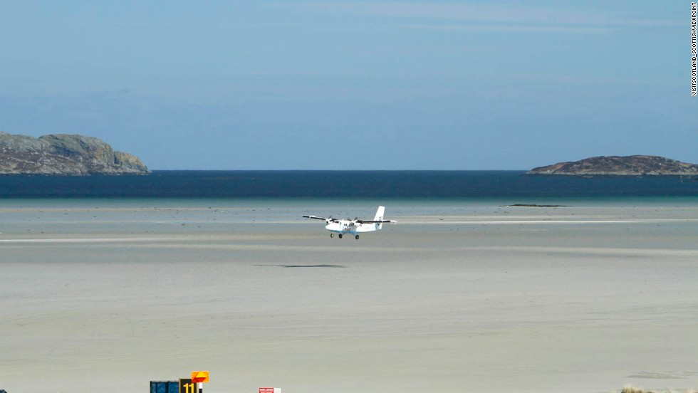 The only airport in the world with scheduled runways landing on a beach, Barra's runway is submerged at high tide.