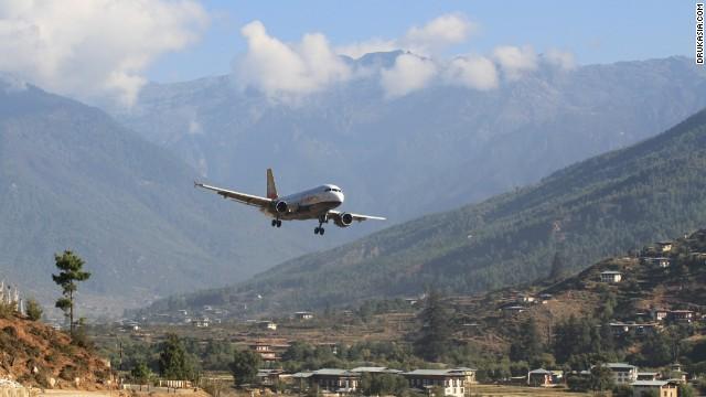 Bhutan's Paro Airport deserves an award for beautiful airport surroundings.