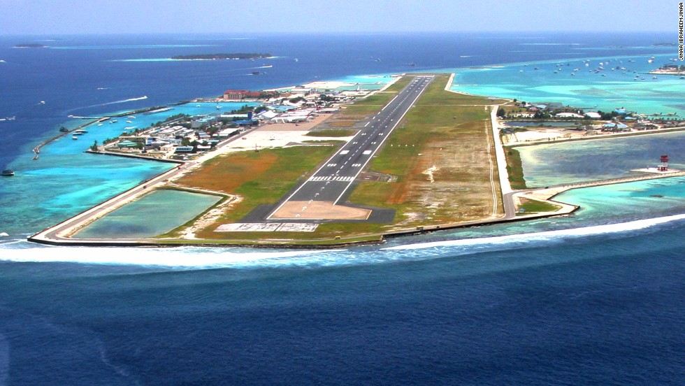 Malé's runway has looks and drama -- it's built only six feet above sea level.