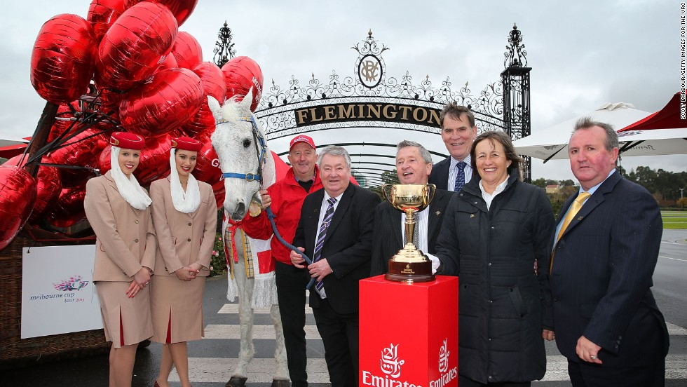 Each year, he is rolled out for the launch of the prestigious Melbourne Cup (with owner Graham Salisbury in red), which takes place in November, despite his advancing years and some recent ill health.