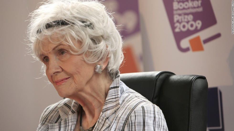 Canadian short story writer Alice Munro, 82, was awarded the Nobel Prize in literature on Thursday, October 10. Here, Munro faces reporters after receiving the Man Booker International Prize in Dublin, Ireland, in June 2009.