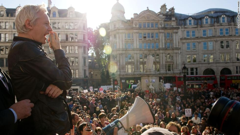 Assange speaks to demonstrators from the steps of St. Paul's Cathedral in London on October 15, 2011.
