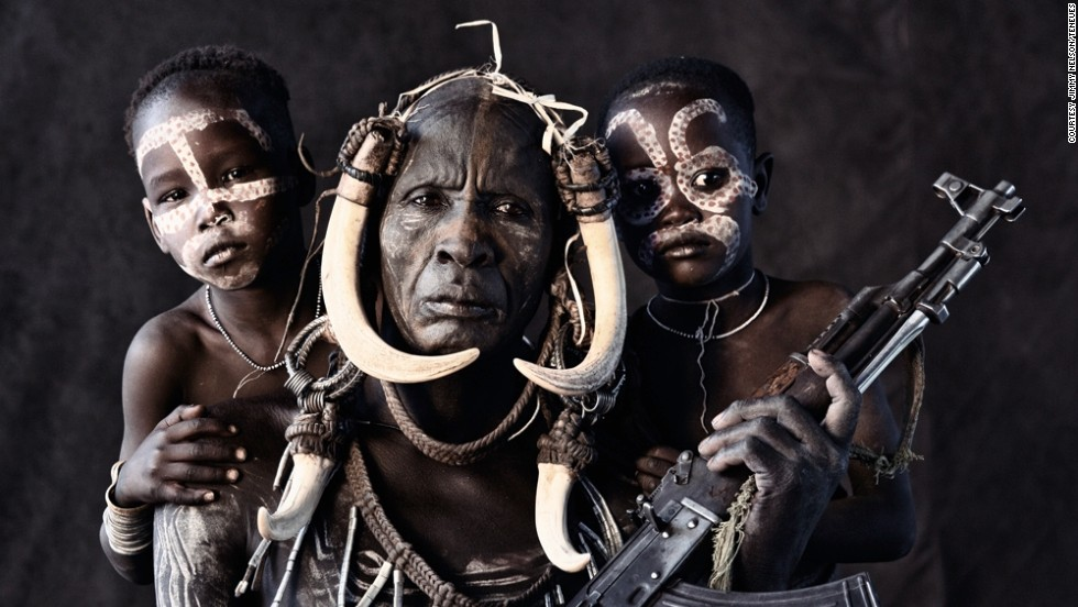 Nelson says the most challenging part of his African journey was approaching the Ethiopian tribes, like the Mursi, pictured. He says they were very protective of their territory, and he was often greeted by men carrying Kalashnikov rifles.