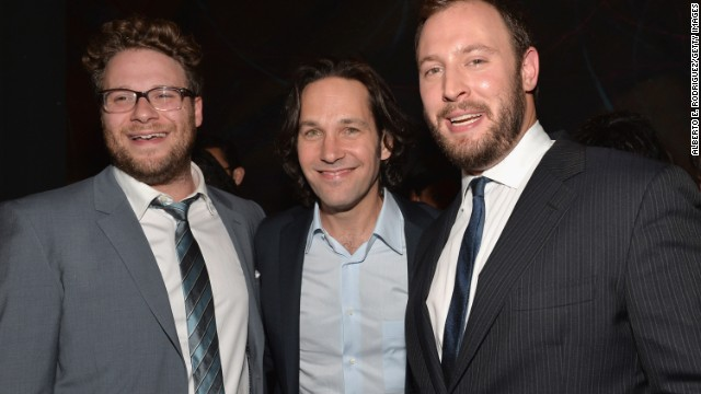 "Seth Rogen (left),Paul Rudd and writer/director Evan Goldberg attend the after party for Columbia Pictures' ""This Is The End"" premiere in June 2013 in Westwood, California."