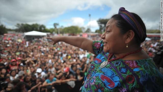 Rigoberta Menchu campaigns in Alameda neighborhood in Guatemala City, on Nov. 4, 2011. Menchu won the Nobel Peace Prize in 1992. Jonathan Ordonezia/AFP/Getty Images