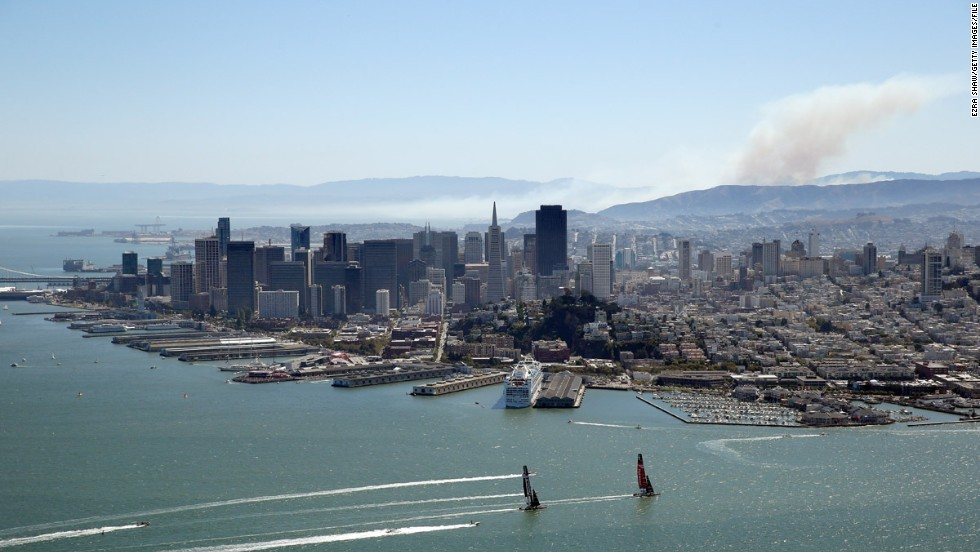 """There was a small brush fire south of San Francisco that provided the smoke in this picture, which I think adds to the overall image,"" said Shaw."