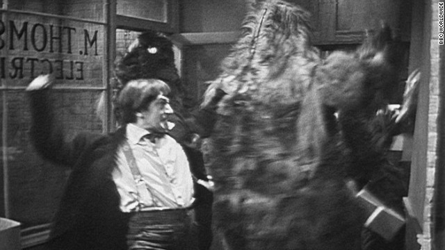 """Patrick Troughton as the time-traveling Doctor fights robot yetis in a recently unearthed episode of """"Doctor Who."""""""