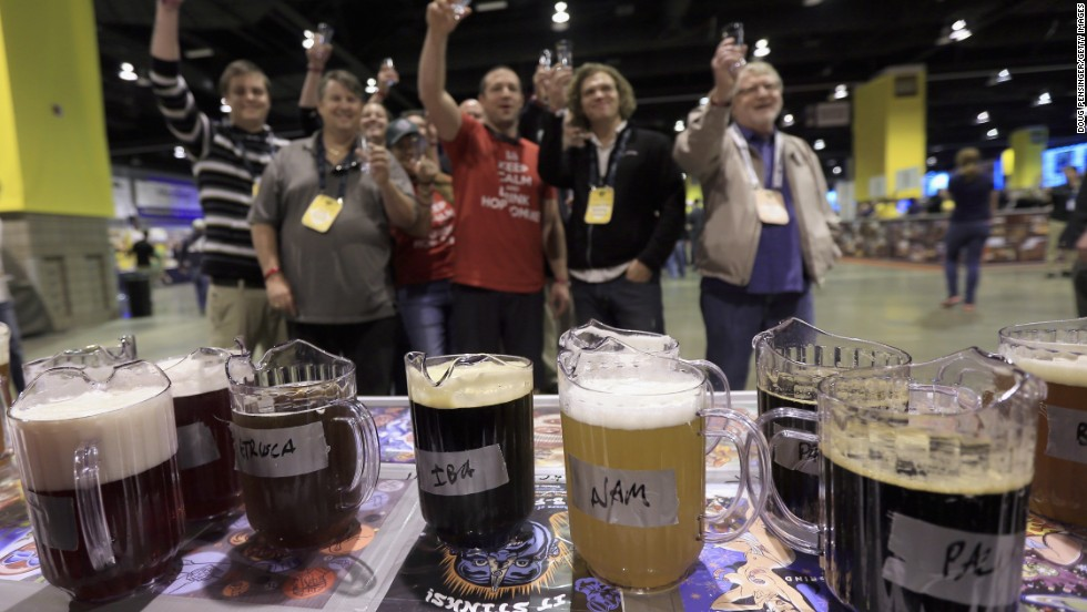 Fans await the official opening and prepare to taste beer from Dogfish Head Craft Brewery of Milton, Delaware.