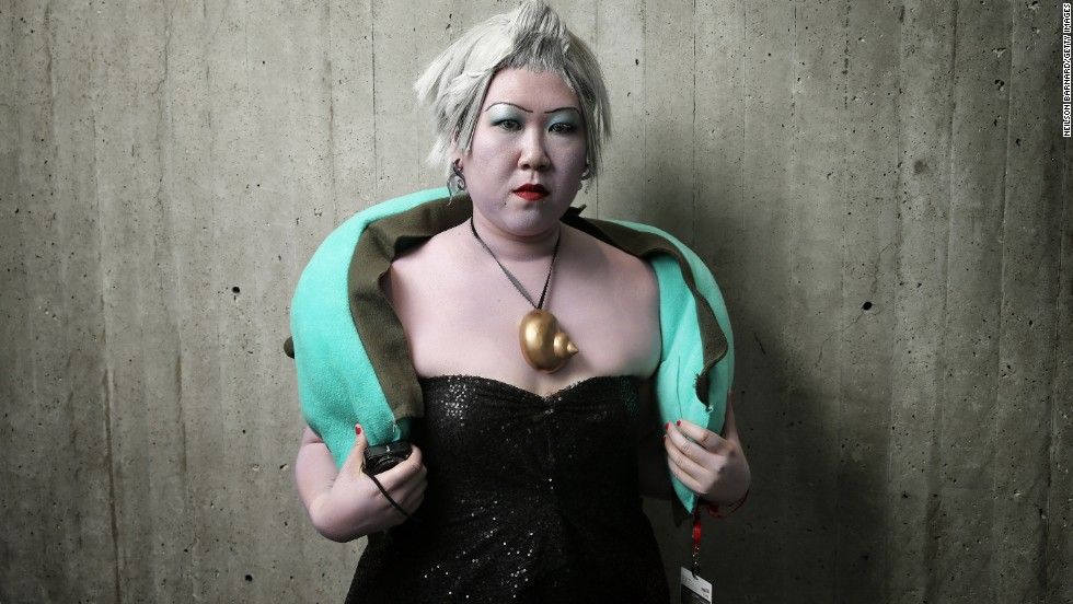 "Many people like to dress as Disney princesses, but sometimes it's more fun to dress as the villains, like this fan who poses as Ursula, the sea witch from ""The Little Mermaid."""