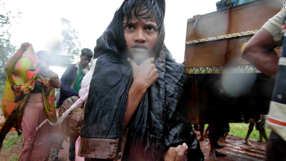 A young boy reaches a relief camp after being evacuated near Berhampur on October 12.